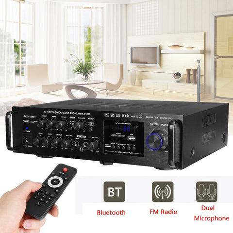 Image of 2000W Wireless Digital Audio Amplifier | 4ohm Bluetooth Stereo Karaoke Amplifier | Home Theater Amplifier | 2 MIC Input FM RC | 220-240V