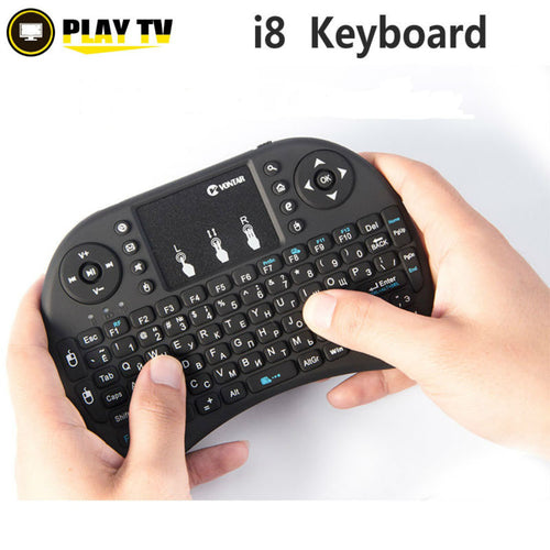 VONTAR I8 Mini Wireless Gaming Keyboard Russian English Hebrew Spanish 2.4G Touched Fly Mouse For Smart TV box Laptop Tablet PC