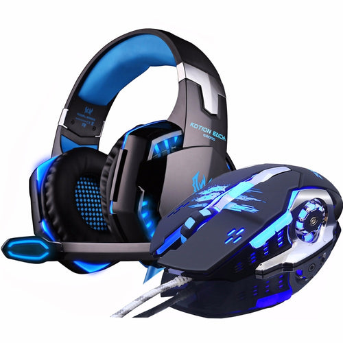 EACH G2000 Deep Bass Stereo LED Headphone Headset with microphone Professional Gamer+Gaming Optical USB Mouse Game Mice DPI gift