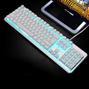 Backlit Gaming Keyboard Steampunk Retro Round/Square Keycap USB Wired Glowing Metal Panel Laptop Computer Russian Keyboard