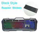 Wired Gaming Keyboard 104 Keys Backlit Keyboards Mechanical Feeling Metal Gamer Keyboard Russian Stickers For Tablet Desktop