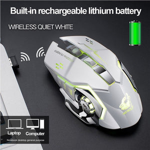 X8 Super Quiet Wireless Gaming Mouse 2400DPI Rechargeable Computer Mouse Optical Gaming Gamer Mouse for PC Black