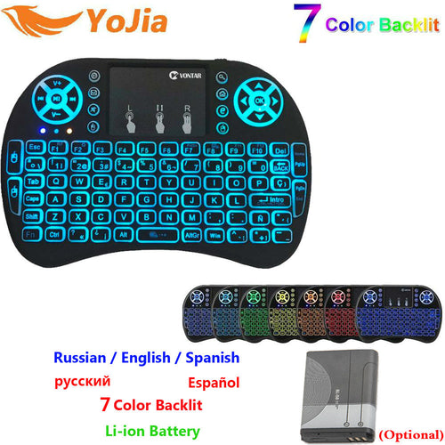 7 Color Backlight mini i8 2.4GHz Wireless Keyboard Russian Spanish English Version Air Mouse Touchpad i8 Backlit For Android BOX