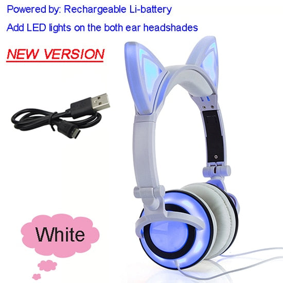 JINSERTA 2019 Cat Ear headphones LED Ear headphone cat earphone Flashing Glowing Headset Gaming Earphones for Adult and Children
