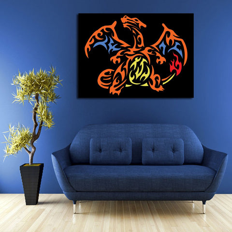 1 Panel Pokemon Charizard Wall Art Canvas