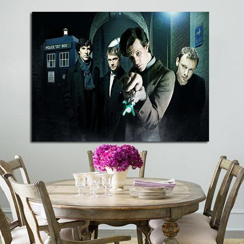 1 Panel Doctor Who And Sherlock Wall Art Canvas