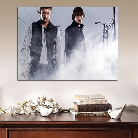 1 Panel Dean And Sam In Smoke Wall Art Canvas