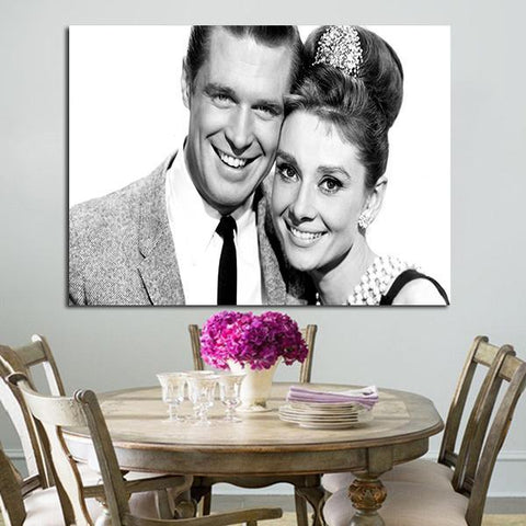 1 Panel Breakfast At Tiffany's Audrey Hepburn And James Dean Wall Art Canvas