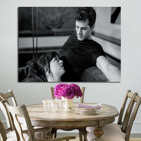 1 Panel Anastasia Steele And Christian Grey Black And White Wall Art Canvas