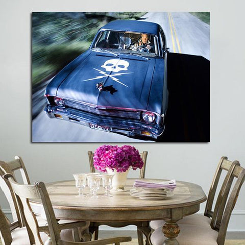 1 Panel Death Proof Blue Car Wall Art Canvas