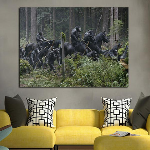 1 Panel Apes Army In The Forest Wall Art Canvas
