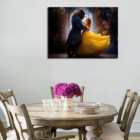1 Panel Belle And Beast Dancing Wall Art Canvas