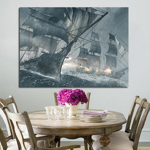 1 Panel Assassin's Double Sailboat Wall Art Canvas