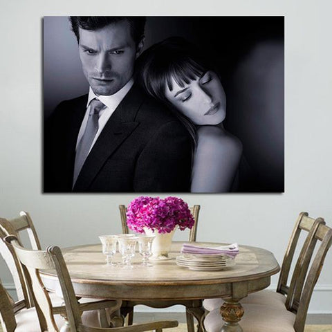 1 Panel Black And White Anastasia Steele And Christian Grey Wall Art Canvas