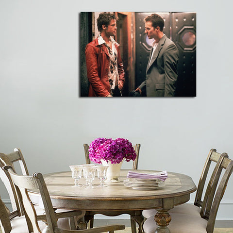 1 Panel Brad Pitt And Edward Norton Face To Face  Wall Art Canvas
