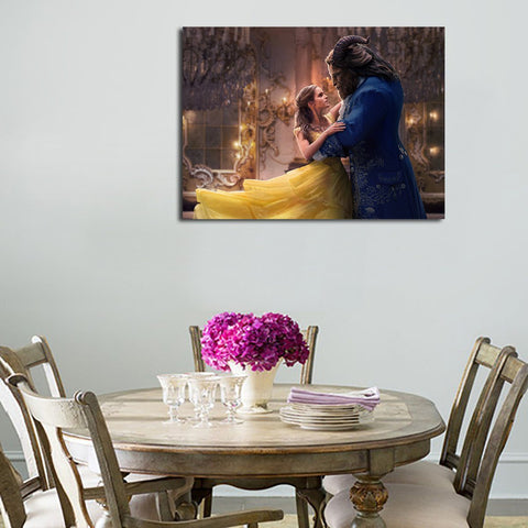 1 Panel Belle And Beast In Love Wall Art Canvas