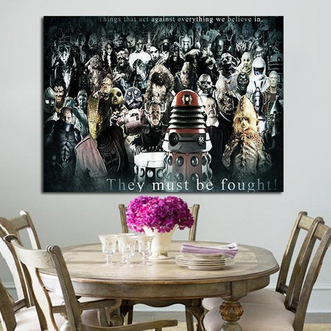 1 Panel Doctor Who All Villains Wall Art Canvas