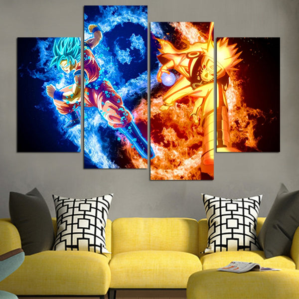 Goku And Naruto Wall Art Canvas