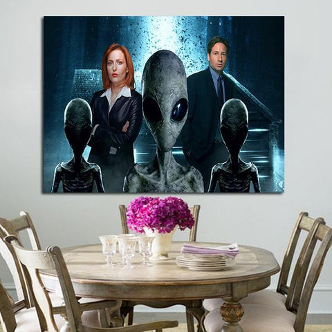 1 Panel Dana Scully Fox Mulder And Aliens Wall Art Canvas