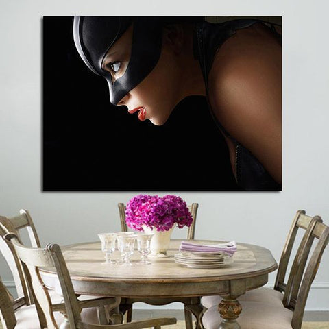 1 Panel Catwoman Red Lips Wall Art Canvas