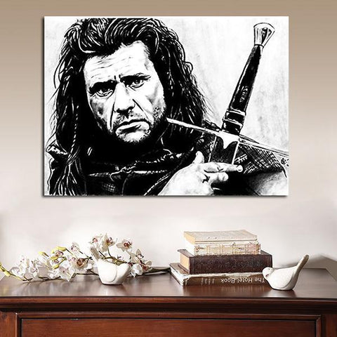 1 Panel Braveheart William Wallace Black And White Artwork Wall Art Canvas