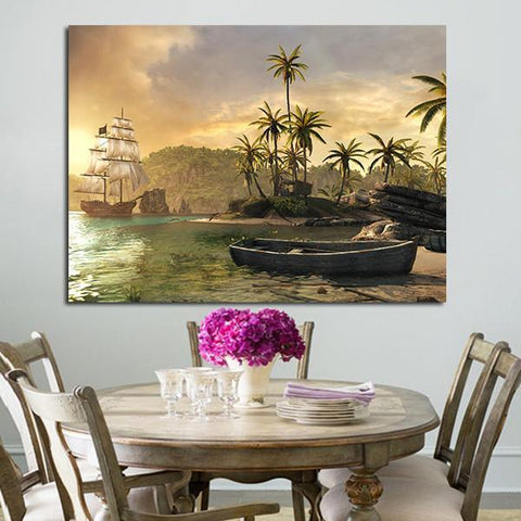 1 Panel Boat And Sea Wall Art Canvas