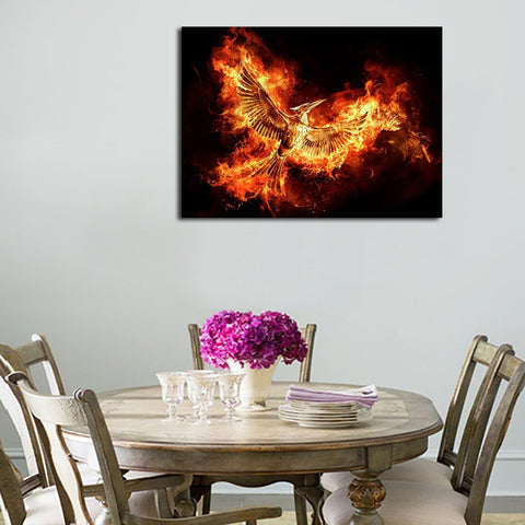 1 Panel Bird Flying In Fire Wall Art Canvas