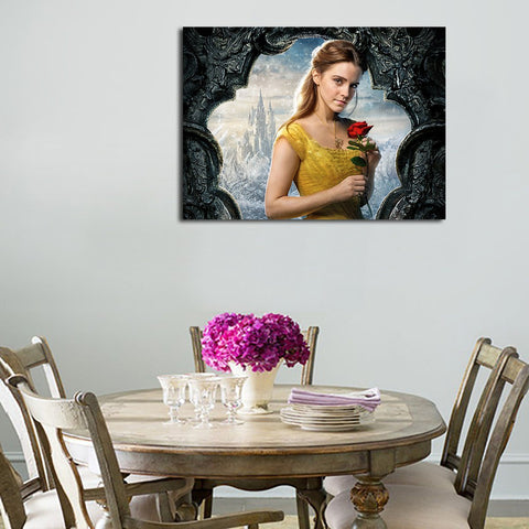 1 Panel Beauty And The Beast Belle Holding A Rose Wall Art Canvas