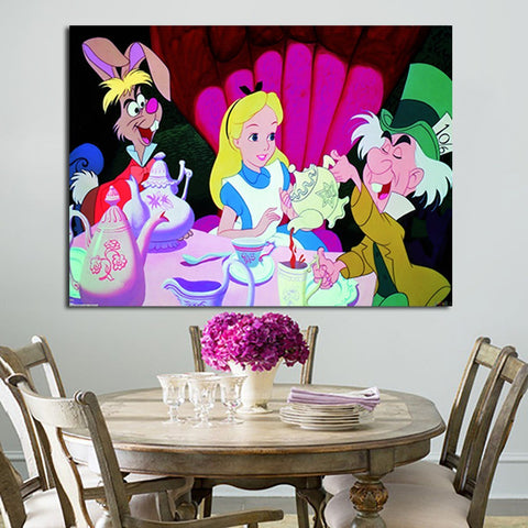 1 Panel Alice In Wonderland Tea Party Wall Art Canvas