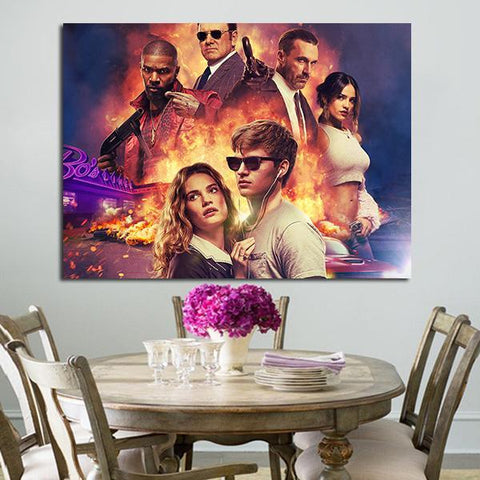 1 Panel Baby Driver Couple Of Baby And Enemy Wall Art Canvas