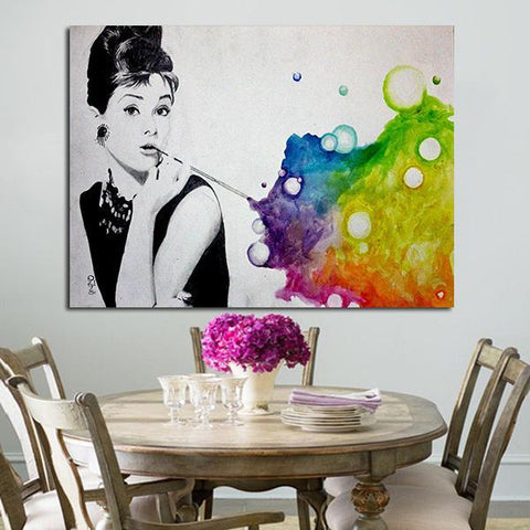 1 Panel Colorful Audrey Hepburn Breakfast At Tiffany's Wall Art Canvas
