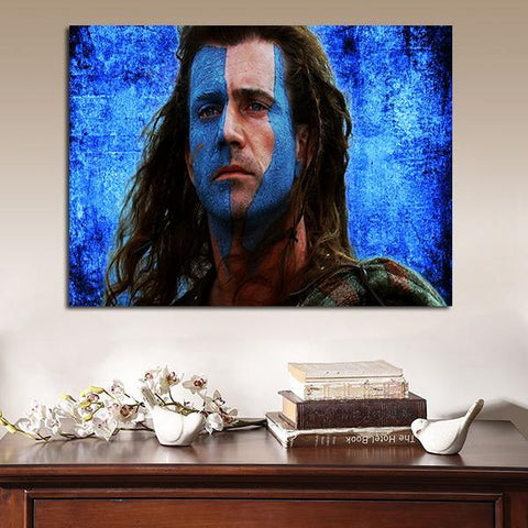 1 Panel Braveheart William Wallace Blue Background Wall Art Canvas