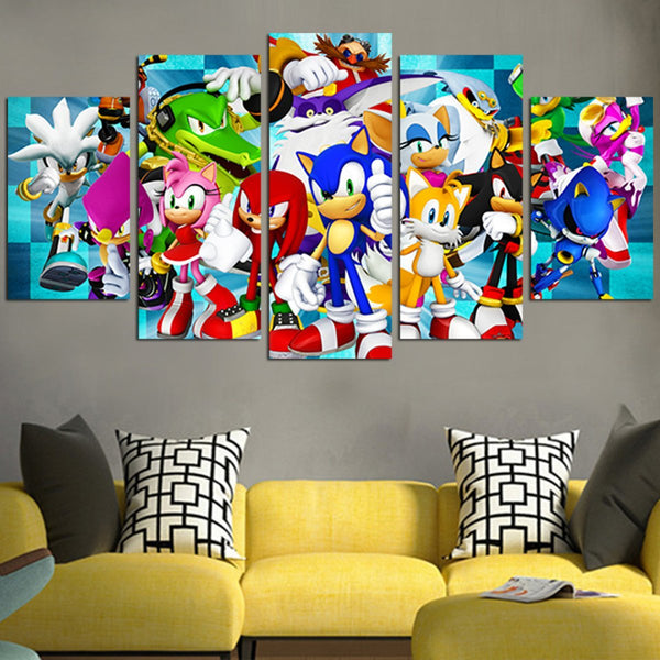 Sonic The Hedgehog Characters Wall Art Canvas