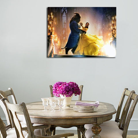 1 Panel Belle And Beast Dancing In Castle Wall Art Canvas