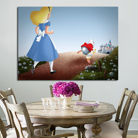 1 Panel Alice Following The White Rabbit Wall Art Canvas
