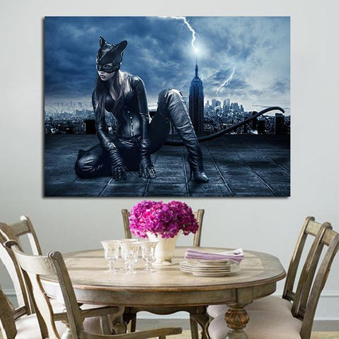1 Panel Catwoman On The Roof Of A Skyscraper Wall Art Canvas
