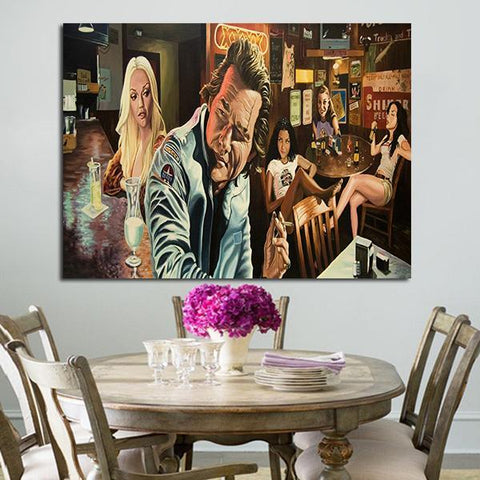 1 Panel Death Proof Stuntman Mike And Girls In Bar Wall Art Canvas