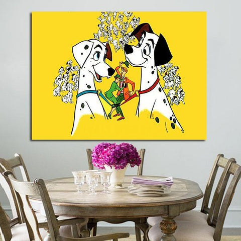 1 Panel 101 Dalmatians Love Of Pongo And Purdy And Couple Roger And Anita Wall Art Canvas