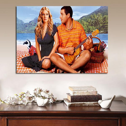 1 Panel 50 First Dates Adam Sandler And Drew Barrymore On The Beach Wall Art Canvas