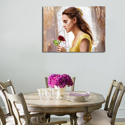1 Panel Belle And A Rose Wall Art Canvas
