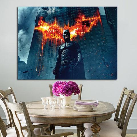 1 Panel Batman And Fire Building Wall Art Canvas