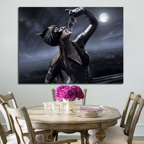 1 Panel Catwoman Eats Mouse Wall Art Canvas