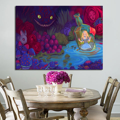 1 Panel Alice In Wonderland Paintings Wall Art Canvas