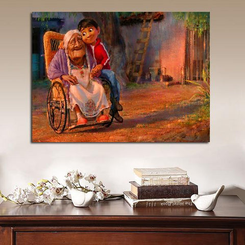 1 Panel Coco Miguel And His Grandmother Wall Art Canvas
