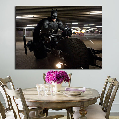 1 Panel Batman With Motorbike Wall Art Canvas