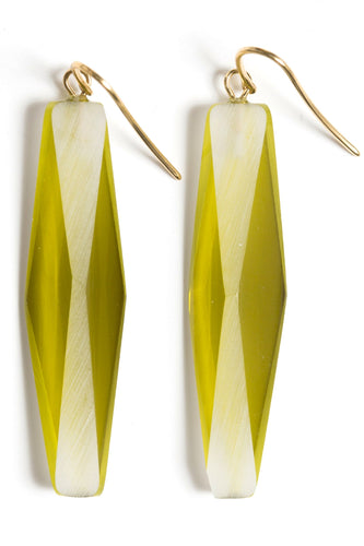 GOLD PLATED PLEXIGLASS CHATREUSE GREEN ADELE EARRINGS