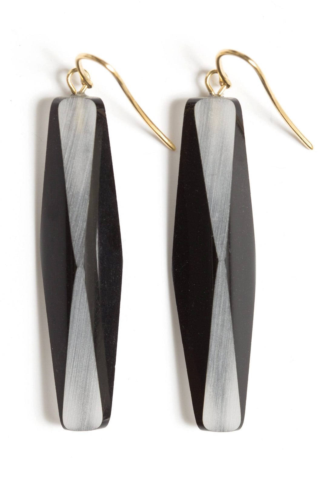 GOLD-PLATED BLACK PLEXIGLASS BLACK  ADELE EARRINGS