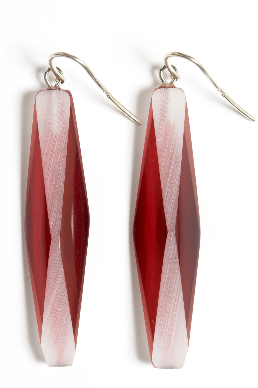 SILVER PLEXIGLASS RED ADELE EARRINGS