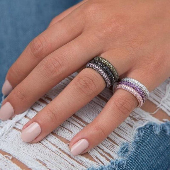Eternity rings in 925 sterling silver with CZ