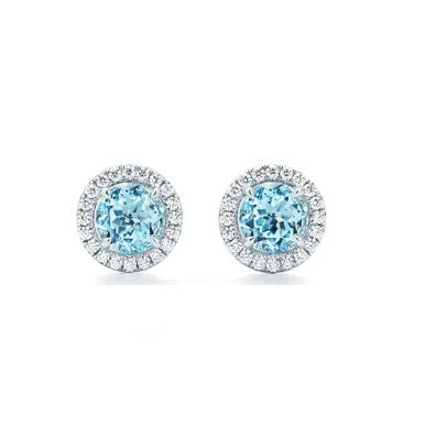 Blue Halo round earrings